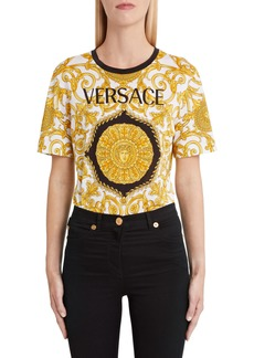 Versace First Line Hibiscus Print Allover Graphic Tee