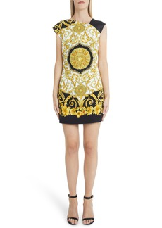 Versace Hibiscus Print Asymmetrical Neck Shift Dress