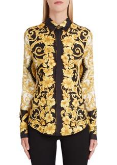 Versace Hibiscus Print Silk Shirt