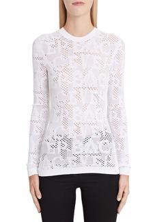 Versace Logo Mesh Knit Top