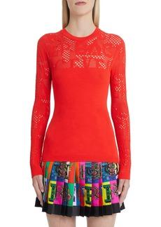 Versace Logo Mesh Panel Knit Top