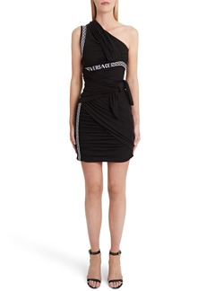 Versace First Line Logo Trim One-Shoulder Body-Con Dress