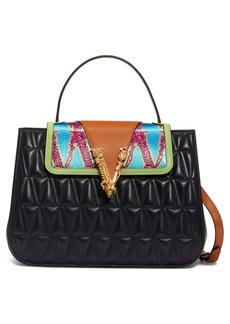Versace First Line Virtus Matelassé Leather & Logo Jacquard Satchel