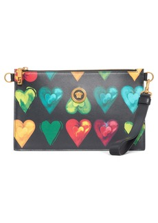 Versace First Line Rebellious Hearts Leather Clutch