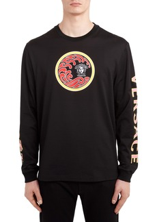 Versace Wave Logo Long Sleeve T-Shirt