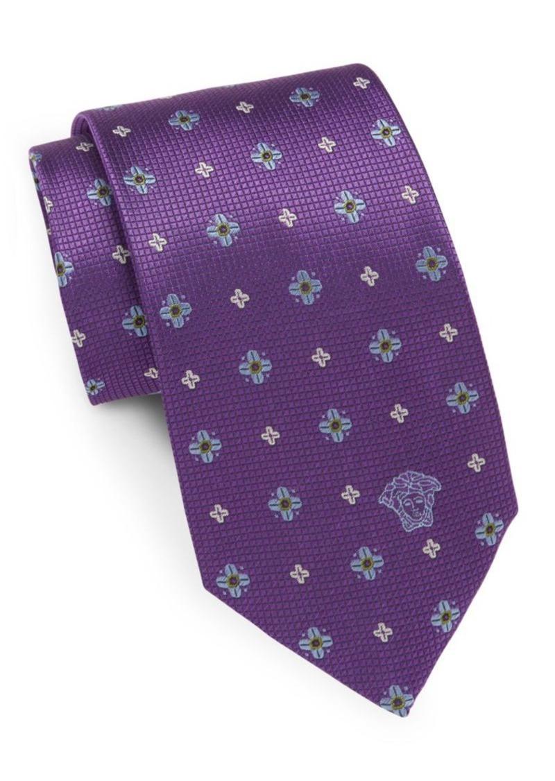 Versace Floral-Print Silk Tie