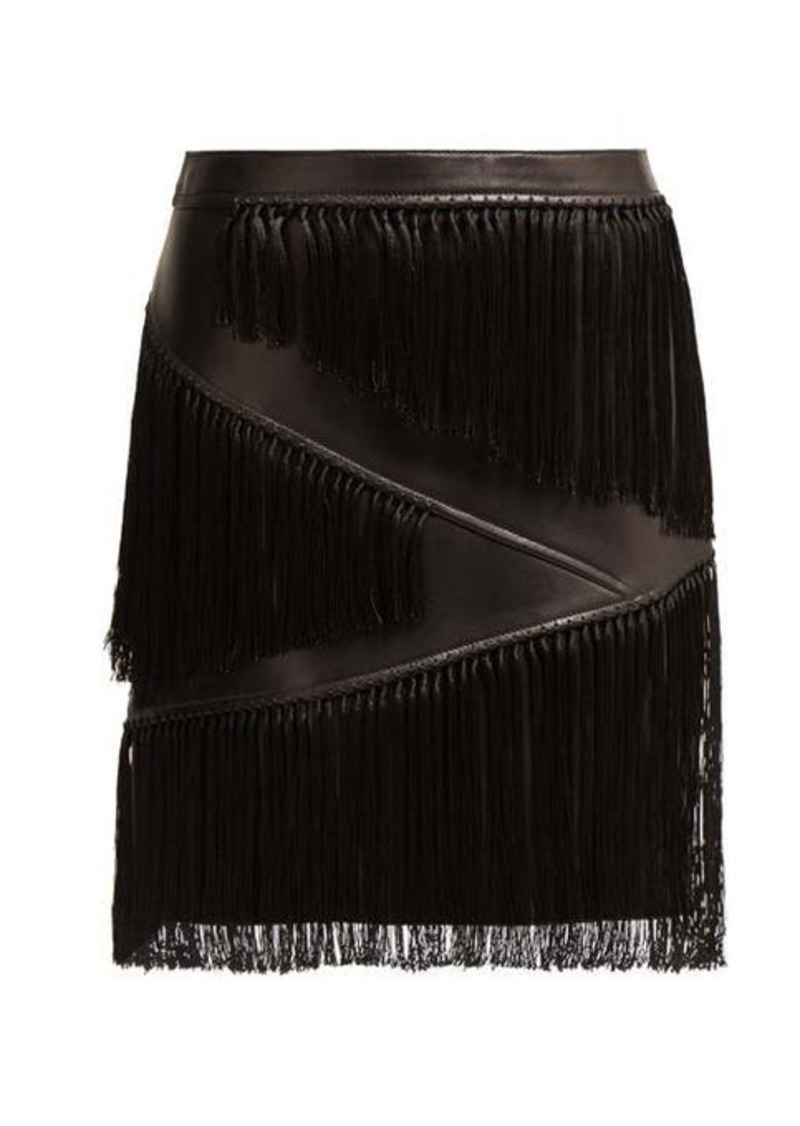 Versace Fringed leather mini skirt