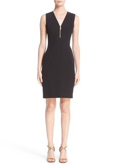 Versace Front Zip Stretch Cady Dress