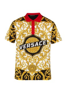 Versace Gold Hibiscus-print cotton polo shirt