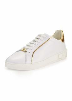 Versace Men's Golden-Trim Leather Low-Top Sneakers