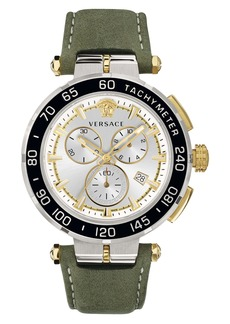 Versace Greca Detailed Leather Strap Watch, 45mm