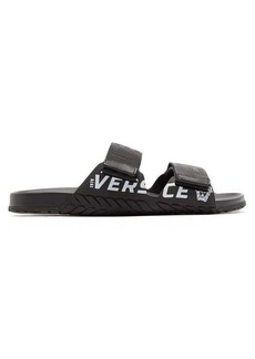 Versace Greek Key logo-print canvas sandals