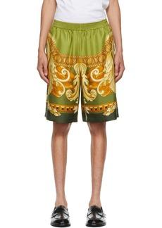 Versace Green Silk Medusa Renaissance Shorts