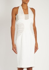 Versace Halterneck bead-embellished silk dress
