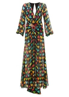 Versace Heart-print embellished-plaque silk-chiffon gown