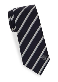 Versace Herringbone Textured Stripe Silk Tie