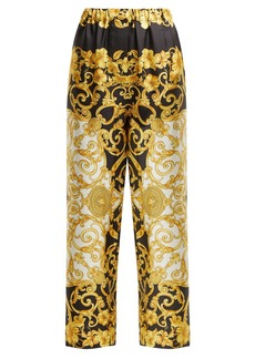 Versace Hibiscus-print silk trousers