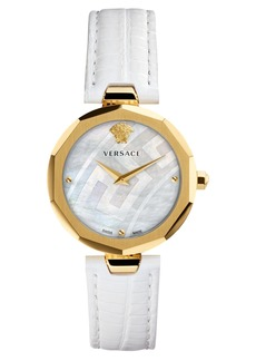 Versace Idyia Leather Strap Watch, 36mm