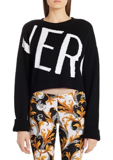 Versace Intarsia Logo Wool Crop Sweater