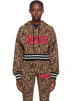 Versace Jeans Couture Beige & Black Leopard Logo Hoodie