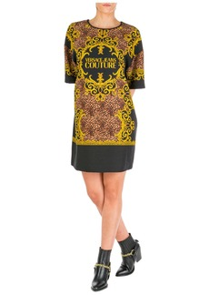 Versace Jeans Couture Knee Length Dress Short Sleeve Leo Baroque