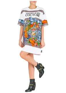 Versace Jeans Couture Short Mini Dress Short Sleeve Optical Flowers