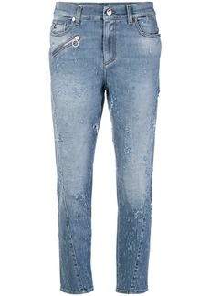 Versace low rise distressed straight jeans