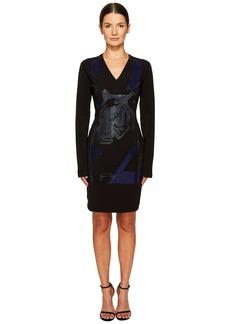 Versace Long Sleeve V-Neck Printed Dress
