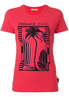 Versace Jeans palm tree print T-shirt - Red