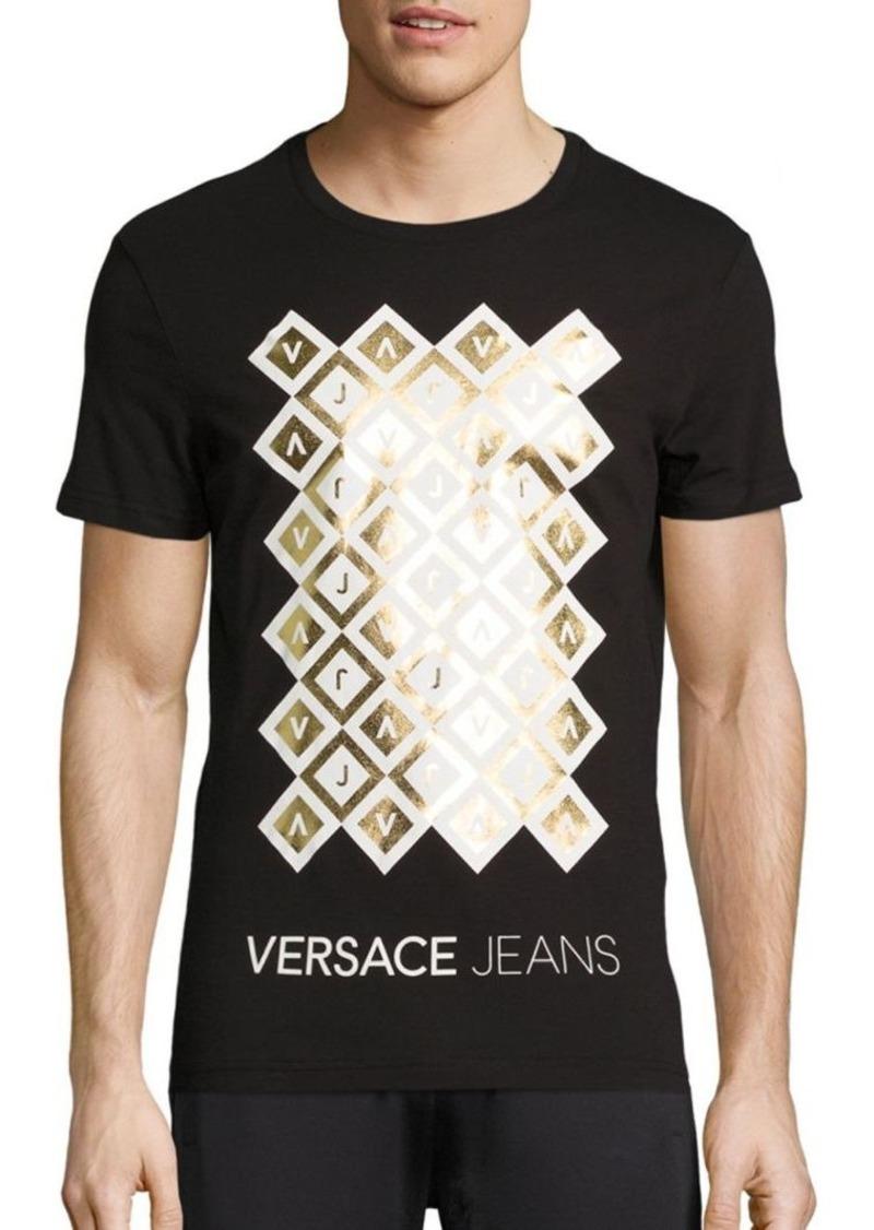 9857ae132 Versace Jeans Iridescent Foil Logo T Shirt Dress