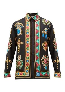 Versace Jewel-print silk-satin shirt