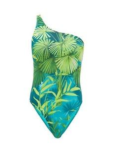 Versace Jungle-print one-shoulder swimsuit