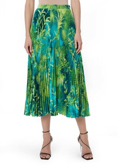 Versace Jungle Print Pleated Midi Skirt