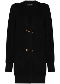 Versace safety-pin chunky-knit cardigan