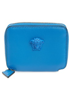 Versace La Medusa Zip Around Leather Card Wallet