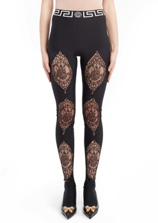Versace Lace Detail Footed Leggings