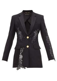 Versace Lace-insert satin-backed crépe blazer