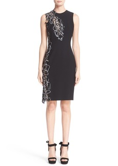 Versace Lace Trim Stretch Cady Sheath Dress
