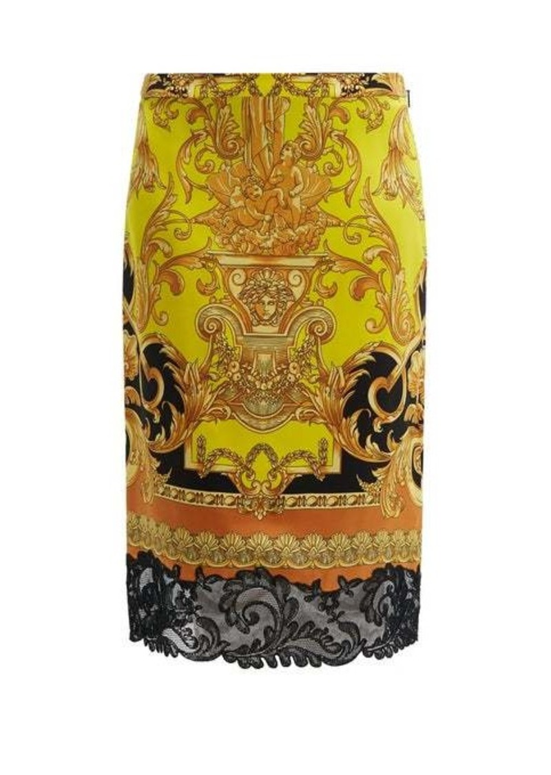 Versace Lace-trimmed baroque-print silk pencil skirt
