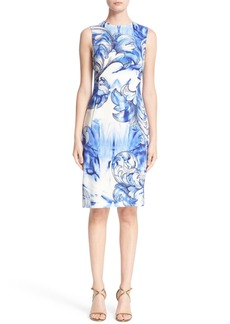 Versace Leaf Print Stretch Cady Sheath Dress