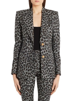 Versace Leopard & Houndstooth Check Stretch Wool Blazer