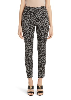 Versace Leopard & Houndstooth Check Stretch Wool Skinny Pants