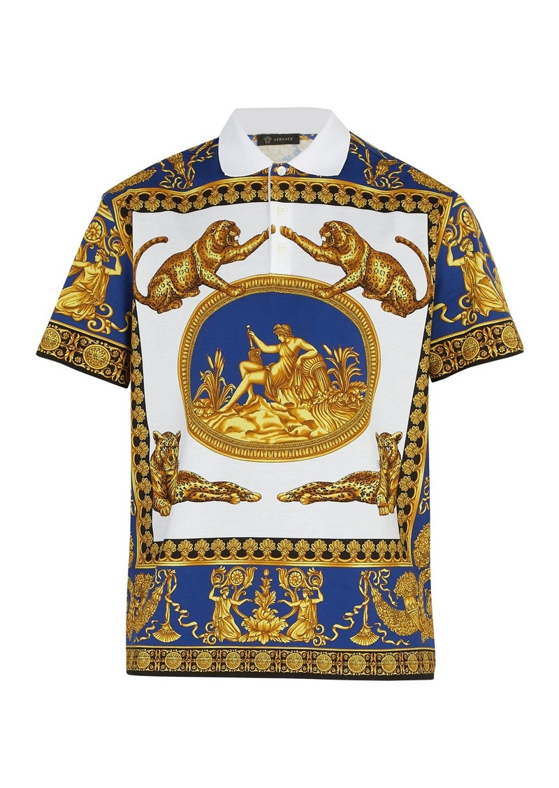 8535a4d4a On Sale today! Versace Versace Leopard-print polo shirt