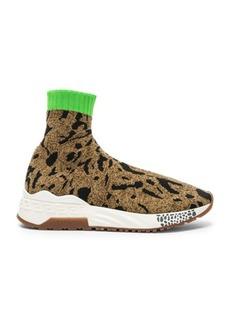 VERSACE Leopard Printed Sock Sneakers