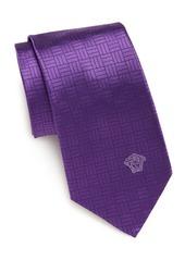 Versace Collection Line-Print Silk Tie