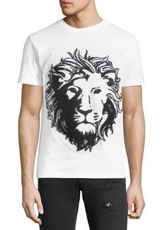 Versace Lion Head Embroidered Crewneck Tee
