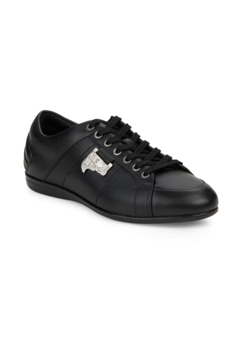 Versace Logo Applique Leather Low Top Sneakers