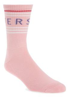 Versace Logo Cotton Blend Crew Socks