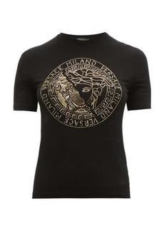 Versace Logo crystal-embellished jersey T-shirt