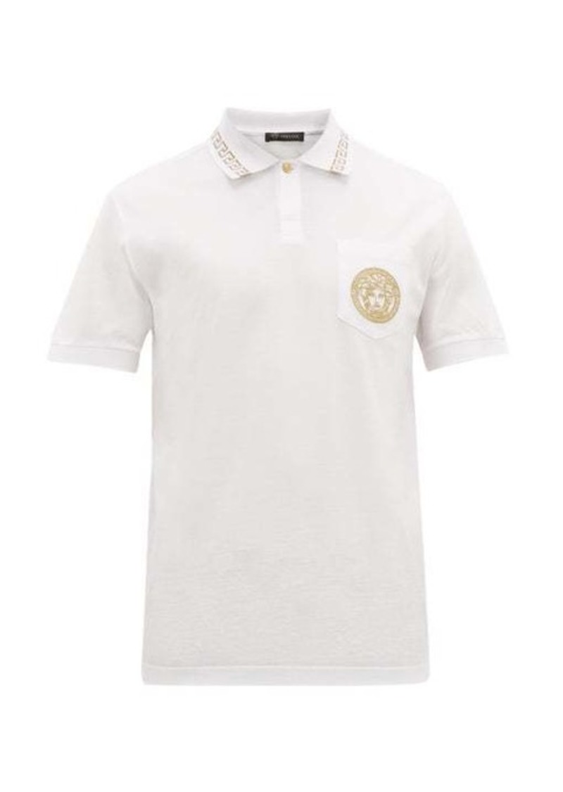 Versace Logo-embroidered cotton-piqué polo shirt